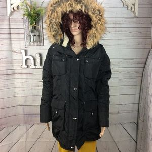 Madden girl black puffer coat with fur trim hood L